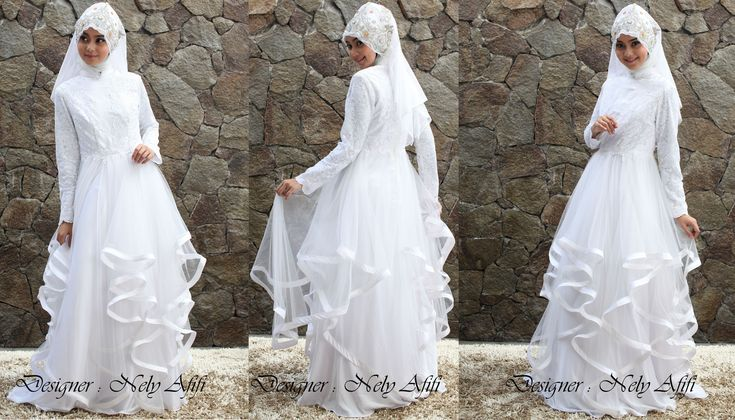 Wedding Dress Muslimah Tile putih brocade by Nely Afifi http://nelyafifi.com