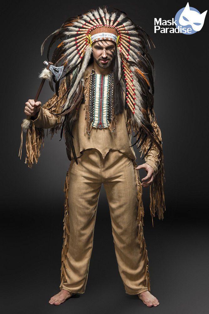 Indianer Kostüm American Herren Fasching Karneval Verkleidung Halloween NEU