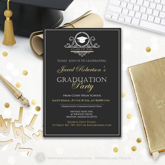 Graduation party invitation printable boy college graduation invitation template, black high school graduation announcement instant download