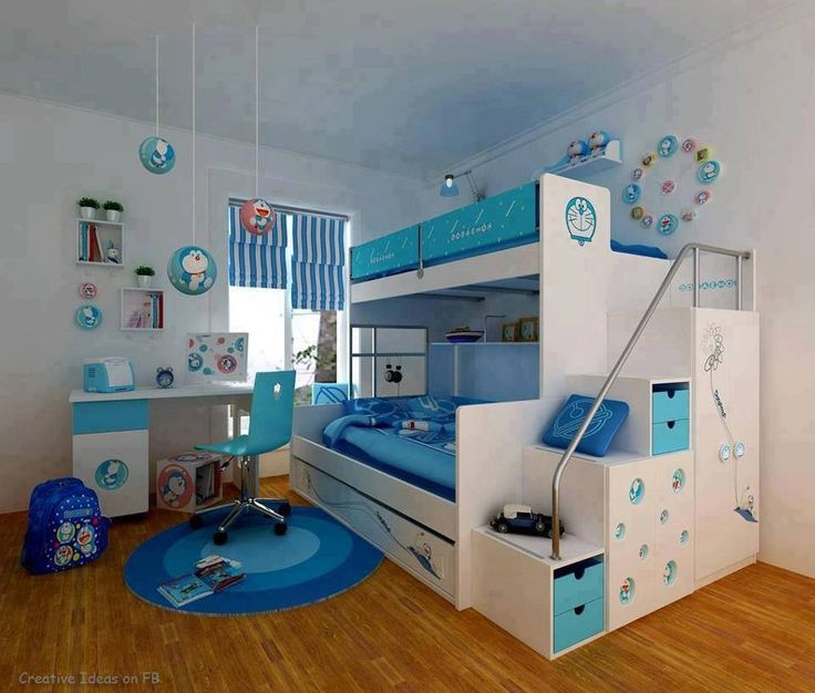 Blue kids bunk beds. Possibly twin boys.