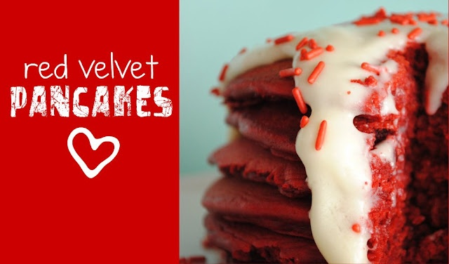 Red Velvet Pancakes!! Yumm: Fun Recipes, Frostings, Valentines, Red Velvet Pancakes, Redvelvet, Cake Mix, Cream Cheeses, Cream Cheese Frosting