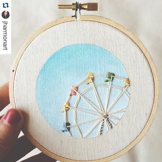 On today's Friday Instagram Finds we bring you Jordan from @jharmonart ! Oh. My. Goodness. You need to check out her feed for the incredibly clever embroidery hoops she creates! She combines fabric, floss, and paint to create stunningly simple, yet detailed, clever hoops. Read more on the Feeling Stitchy blog {link in profile} #handembroidery #mixedmediaembroidery #ferriswheel
