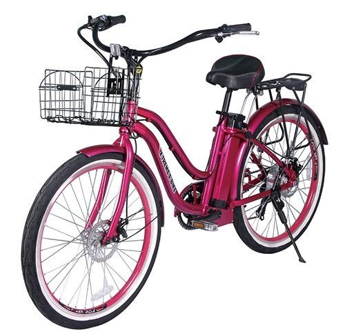X-Treme Malibu Beach Cruiser Lithium Battery Electric Bicycle; Pink