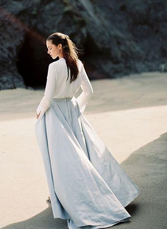 Wedding separates perfect for autumn winter Modern Seaside Wedding Inspiration