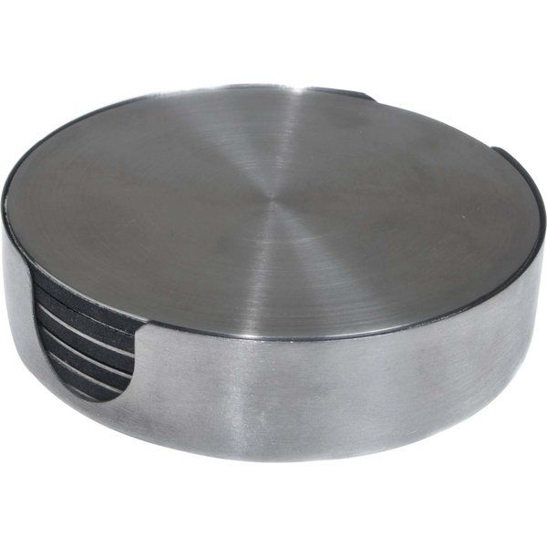 The Thirstystone 7 Piece Stainless Steel Round Coasters makes for a useful addition to your kitchen. The padded backing of this coaster helps prevent scratches on the dining table. The flat surface of this coaster lets you clean it easily after use. High-quality steel is used to make this coaster durable and hardwearing. This set of coasters comes with a sleek metallic holder, and this allows you to stack them for convenient storage. The 7 Piece Stainless Steel Round Coasters by Thirstystone…