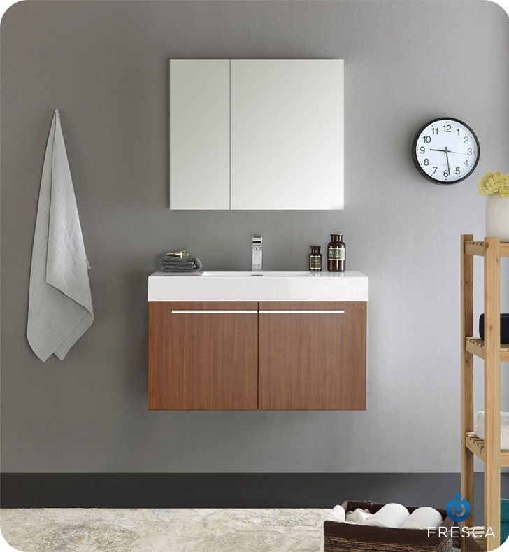 Fresca Fvn8090tk Vista 36 Teak Modern Bathroom Vanity With Medicine Cabinet Modern Bathroom Vanity Modern Bathroom Cabinets Modern White Bathroom