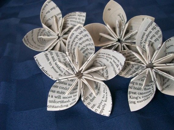Love the idea of working these paper flowers made from book pages in to a bridal bouquet