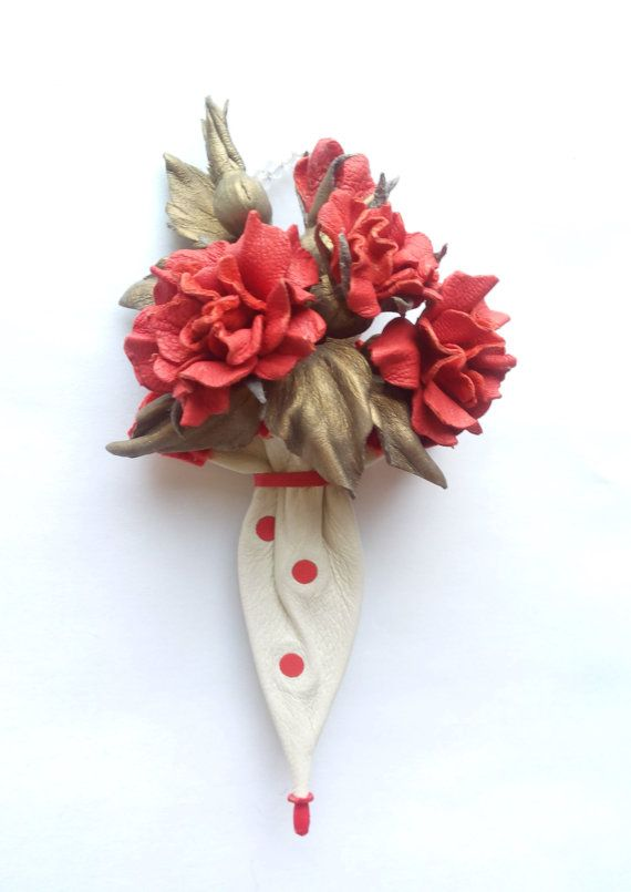 It was made with love! Elegant, original, stylish brooch from leather will be an unusual and elegant decoration for coats,costumes, jackets,