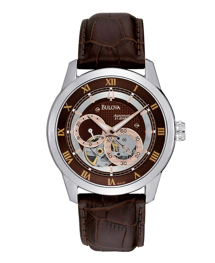 Bulova Watch, Men's Automatic Brown Croc Embossed Leather Strap 96A120 - Bulova - Jewelry & Watches - Macy's