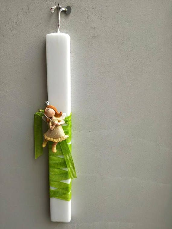 Fairy Easter candle fairy girl ornament on white Greek