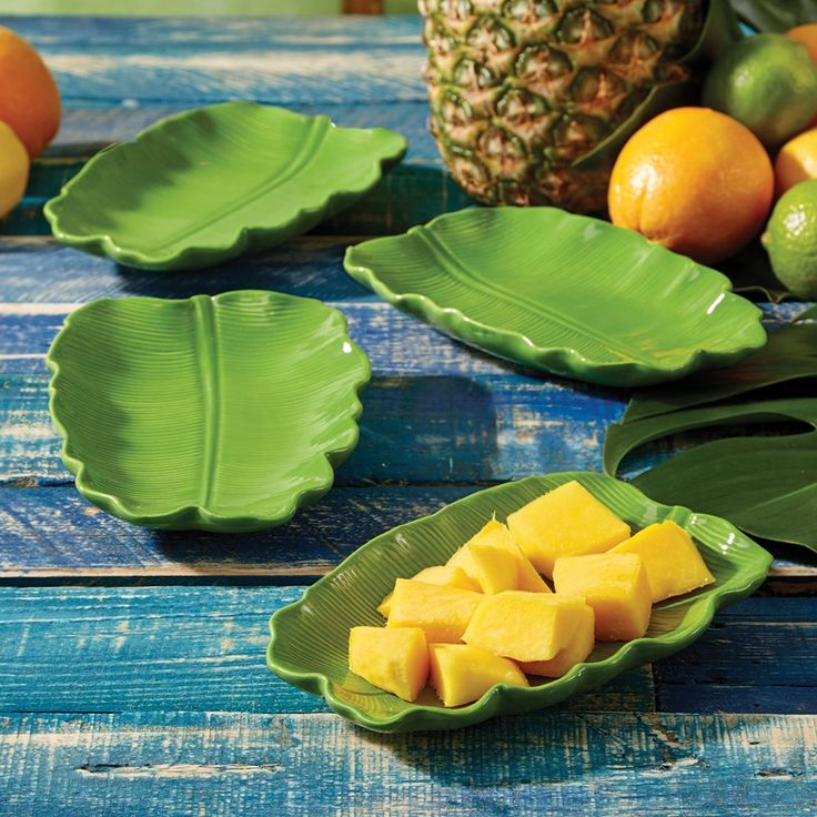 These Green Banana Leaf Appetizer Plates are the perfect serving pieces for a coastal-inspired starter meal.