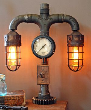 Machine Age Lamps Steampunk Gear Steam Gauge - eclectic - Table Lamps - Minneapolis - Machine Age Lamps
