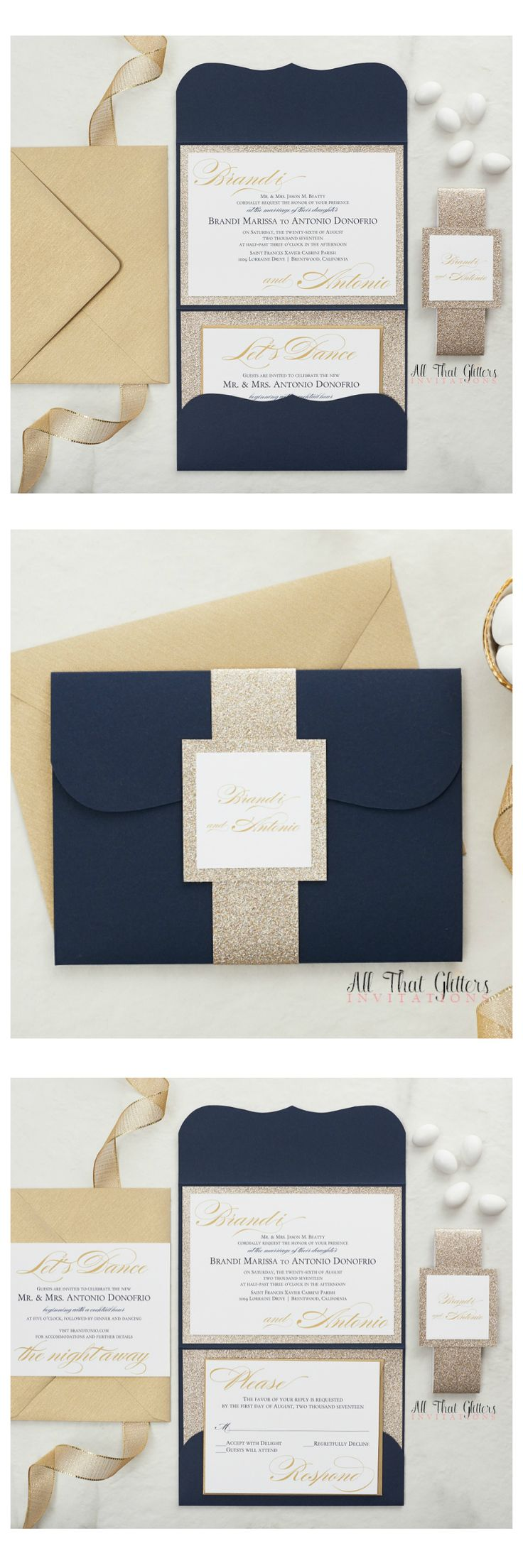 Our Brandi suite is the ultimate elegant wedding invitation! Brandi can be done in any color combination, but this navy & gold glitter is AMAZING.