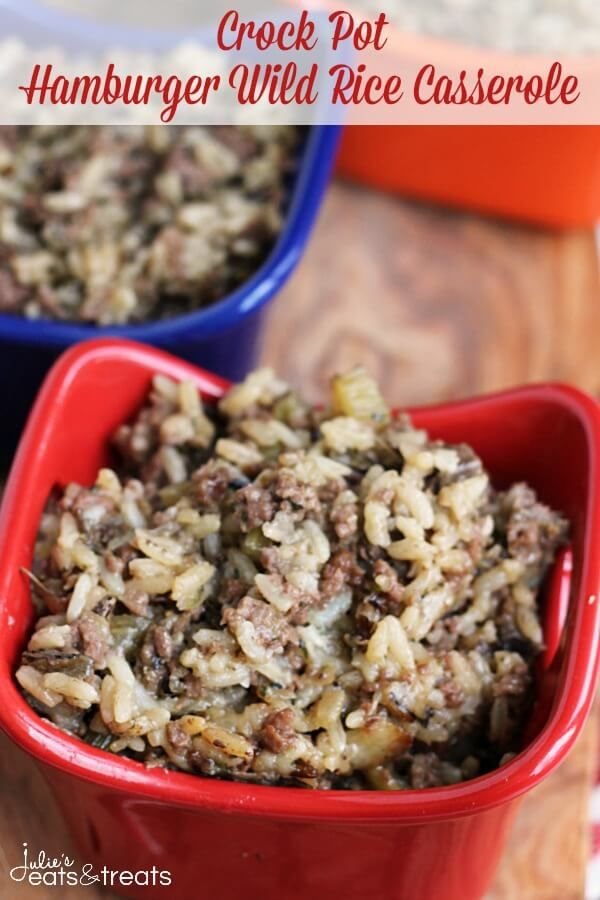 Crock Pot Hamburger Wild Rice Casserole ~ Comforting Casserole Made in the Crock Pot and Stuffed with Hamburger and Wild Rice!