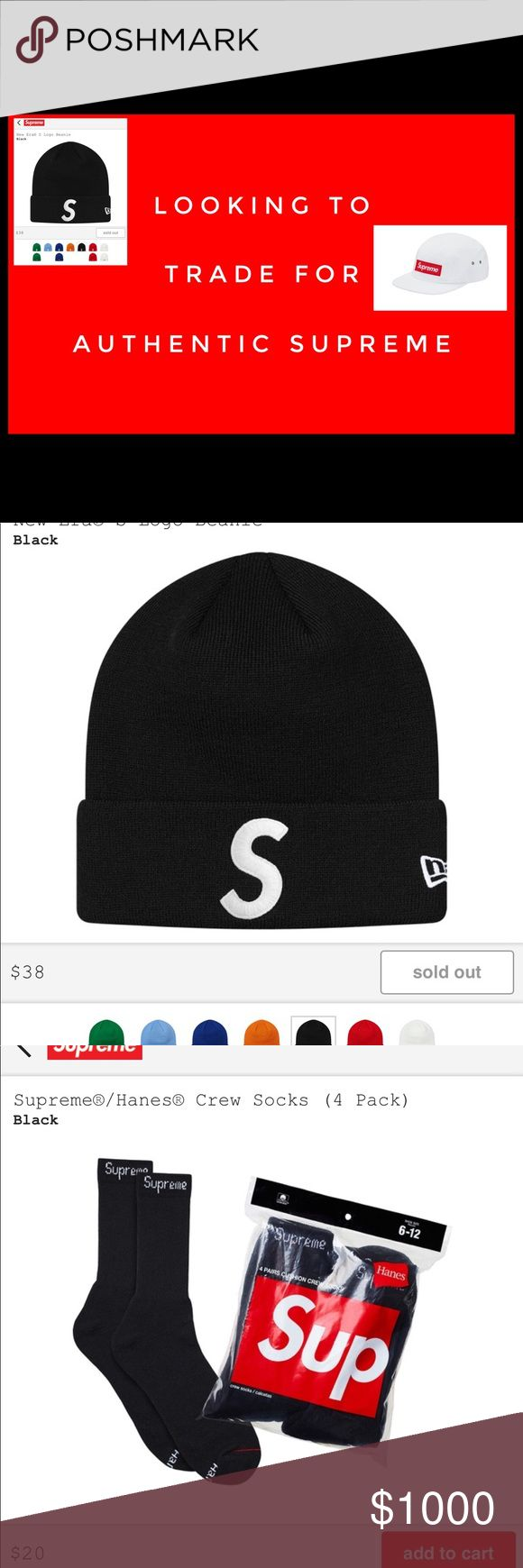 Looking To Trade For Supreme Hats & Accesories Looking To Trade With Honest Poshers for Supreme Items- Preferably Winter Hats And 5 Panel Hats. I am a Respectable Posher. I have over 900 Sales and over 100 Trades. Please comment Below if you would be interested in Trading with Me. To see more of our Unliated Inventory Follow Us on IG @GOLDENBEARGARAGE Supreme Accessories Hats