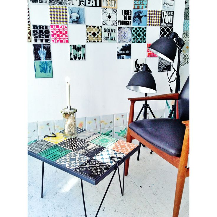ARTTILES table. The traditional tile top table brought up to date. Here displayed at the ARTTILES studio in Copenhagen.