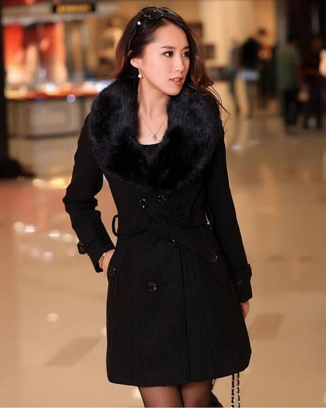 2014 women's fox fur collar and long sections Slim thick coat new autumn and winter coat Free shipping WT4437