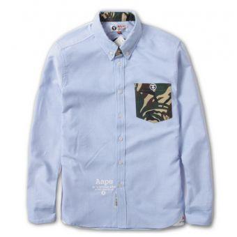 AAPE BAPE Camo Pocket Oxford Button Up Shirt (Blue) #bape #aape #streetwear #streetfashion #fashion #urbanwear #longsleeves #buttonupshirt