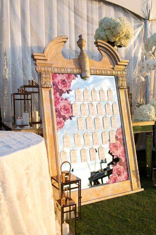 Hawaii Five O. Escort card Display. Mirror Frame | White Lilac Inc. | Event Design for Weddings, Fashion, Social, Corporate. | www.whitelilacinc.com