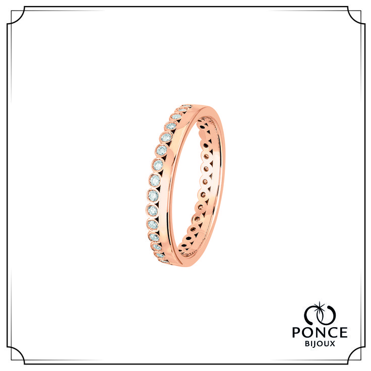 Bijoux Ponce, TOGETHER ELDA FOREVER Alliance diamant, Alliance femme, Or rose, Modèle Tour complet, diamants 33 x 0,01 ct H-SI #bijouxponce #love #weddingring #Paris #MadeInFrance #jewellery