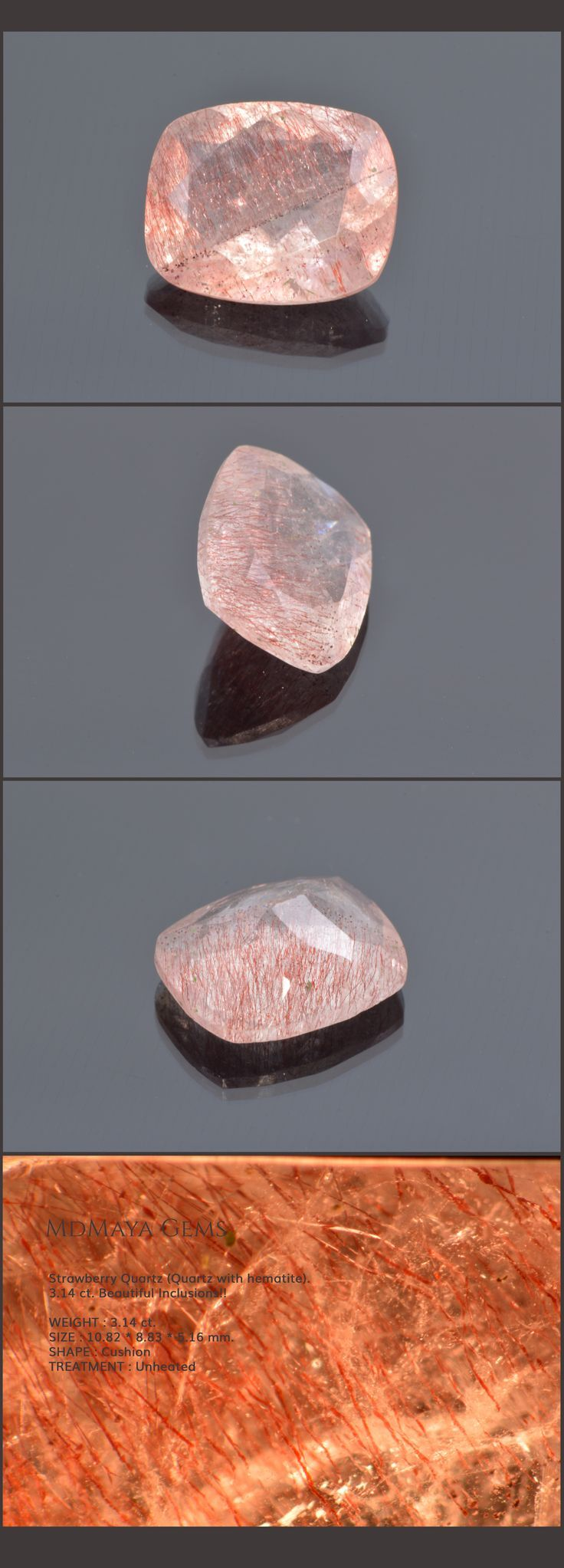 Strawberry Quartz (Quartz with hematite). 3.14 ct. Beautiful Inclusions!! Loose Gemstones for sale MdMaya Gems