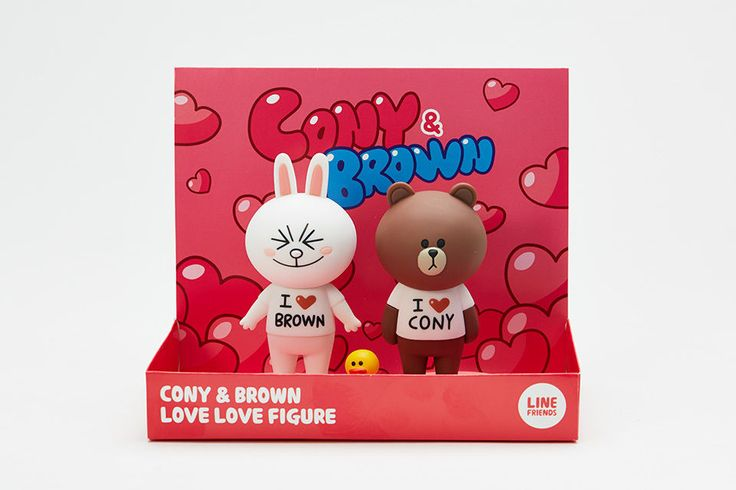 LINE FRIENDS Character Figure Figurine CONY & BROWN Love Package Official Goods