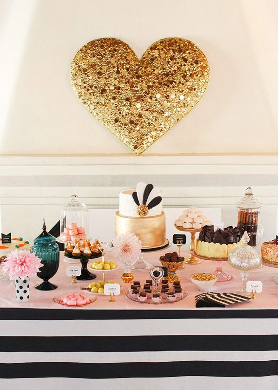 Giant gold heart and dessert table. #LauraTrevey #BrightBoldBeutiful