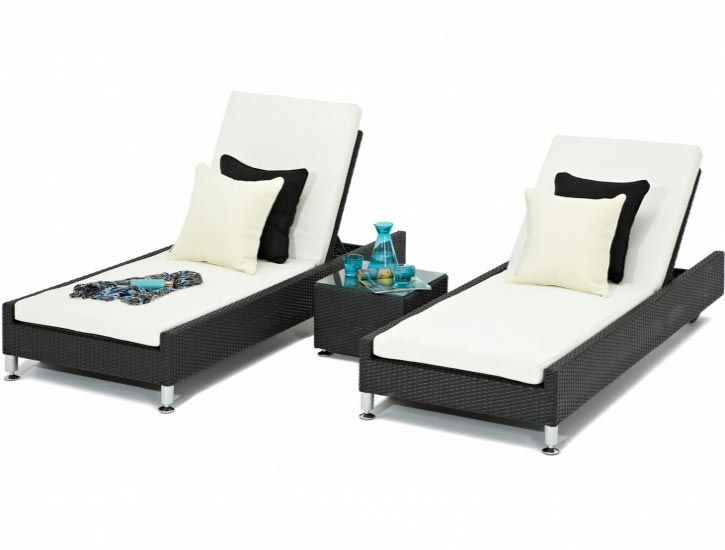 Upright black Sicilia Sun loungers - These sun loungers are fade and rust resistant so don't worry about leaving them outside in those summer months! £695 #summer #garden #furniture