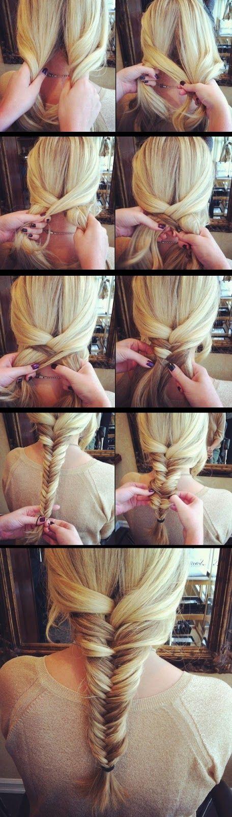Simple Fishtail Braid Tutorial  -I wish i had long hair again for these.