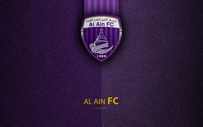 Download wallpapers Al Ain FC, 4K, logo, football club, leather texture, UAE League, El Ain, United Arab Emirates, football, Arabian Gulf League