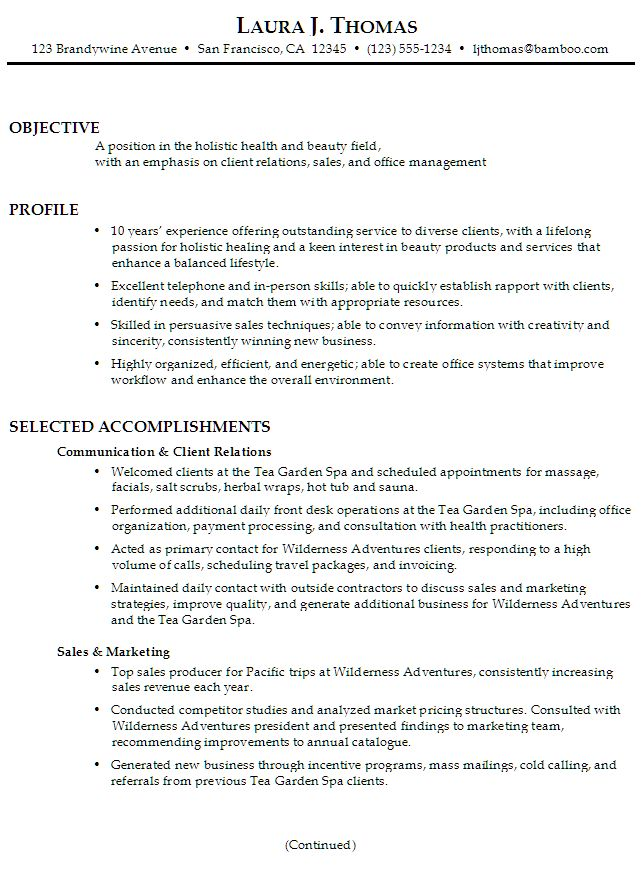 11 best Resume images on Pinterest Resume ideas, Resume and - spa receptionist resume