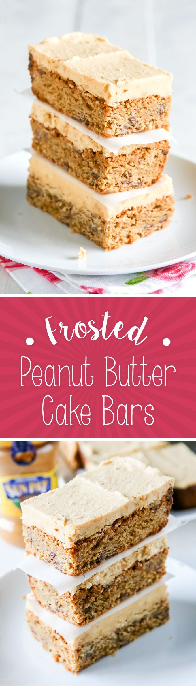 Frosted Peanut Butter Cake Bars Recipe by Sweet2EatBaking.com | These Frosted…