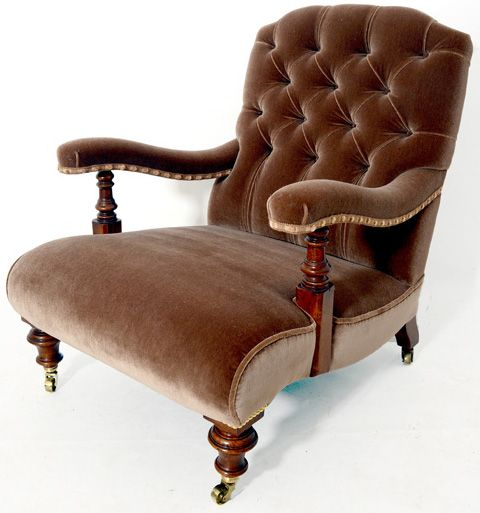 This beautiful hand made walnut framed armchair is a direct copy of a Victorian armchair Circa 1855-70 The example is covered in a Northcroft wool velvet fabric. http://www.petersilk.co.uk/product.php/512/library-chair