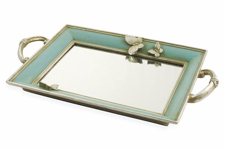Villa d 'Este Home Tivoli Versailles Tablett Spiegel, Glas, Hellblau, 36x 23cm: Amazon.de: Küche & Haushalt
