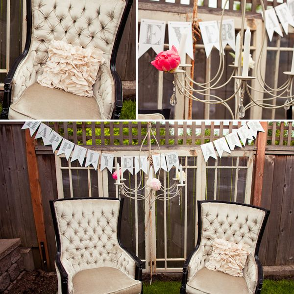 """Find a pretty vintage chair for her to sit on while opening gifts and hang a """"Happily Ever After"""" or """"Bride to Be"""" garland behind her"""