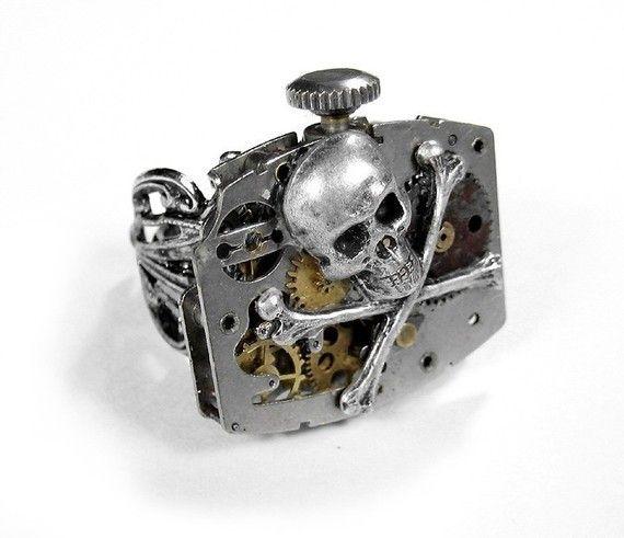 Steampunk Ring Vintage Industrial Watch Mechanism Skull Bones