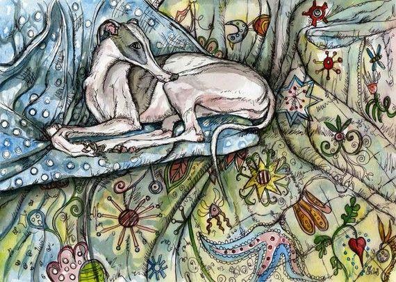 Chien Art Print - Illustration de Whippet