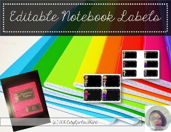 Editable Composition Notebook Labels for Teachers are great for making your team notebooks that can be used for meetings.  This pack has 7 different sets of labels in two different sizes.  The bigger size is used for labeling and the smaller size for names.They can also be used for upper grade students notebooks.Label pack includes:Medium rectangle labels with character ( 6 per sheet)Small rectangle labels with characters (6 per sheet)CONNECT WITH ME:Like me on FacebookFollow me on…
