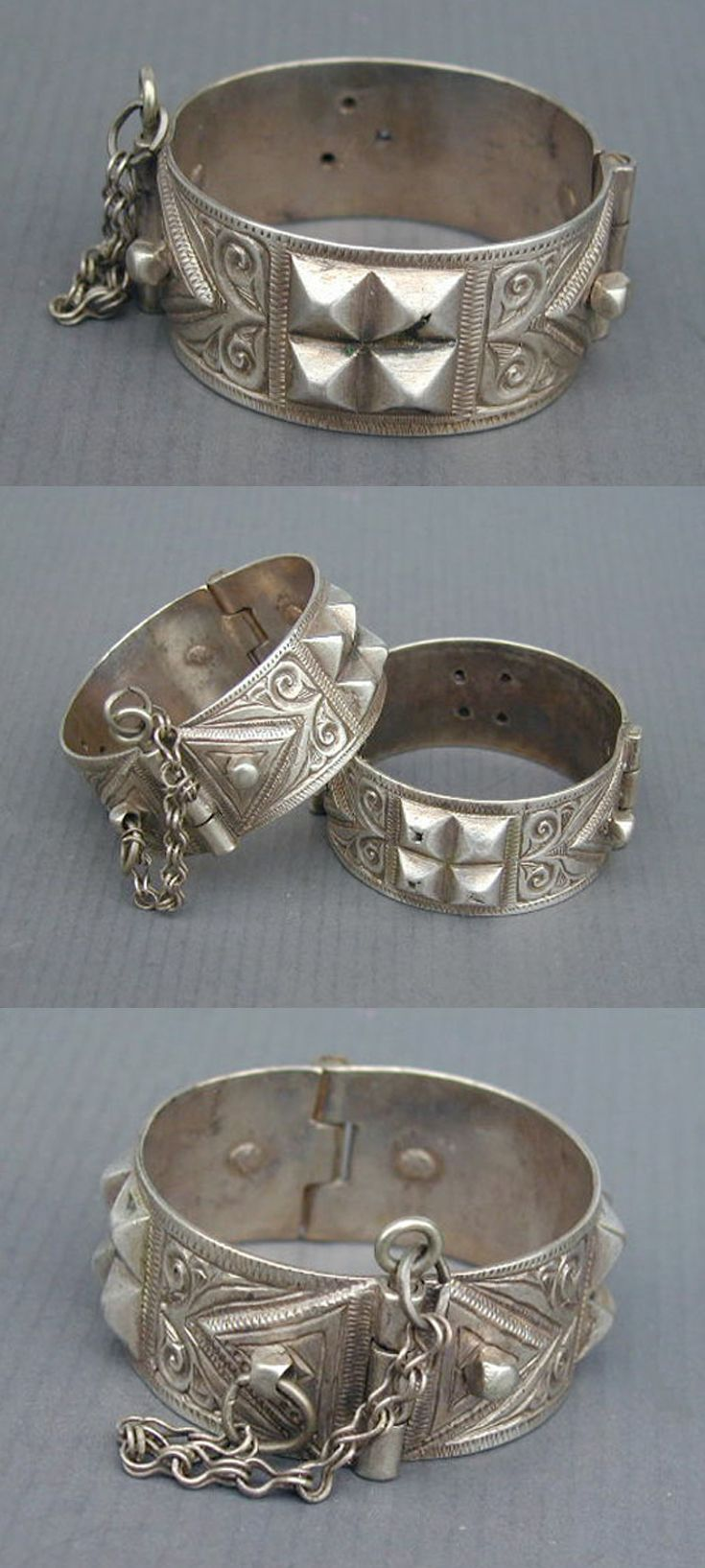 Algerian Amazigh Berber hinged bracelets from Aurès; excellent alloy of silver.  Early 20th century.  420$