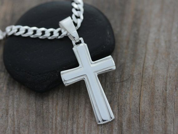 Classic Mens CROSS Sterling Silver cross for men, Mens Plain Cross necklace, Choose Sterling chain OR Leather.  Dad grandpa gift. 5143