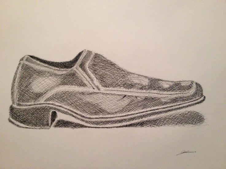 Cross hatch drawing of my dress shoe