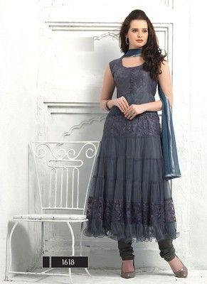 Latest Fashionable Net Gray Anarkali Suit