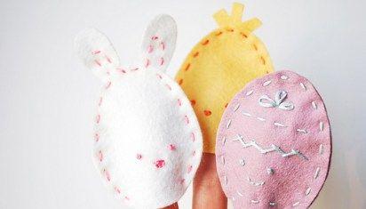 Marioneta de dedo hechas con fieltro: huevos de Pascua