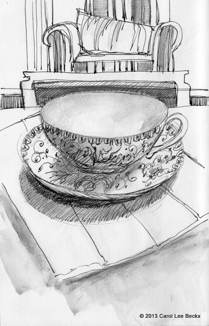 Cup and saucer, ink and soluble graphite Stillman & Birn Alpha sketchbook.