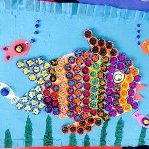 bottle cap fish bulletin board