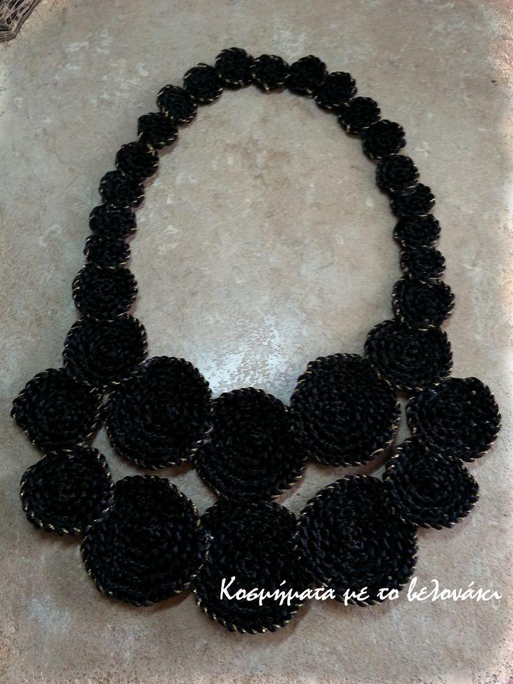 Unique big, black, crochet necklace
