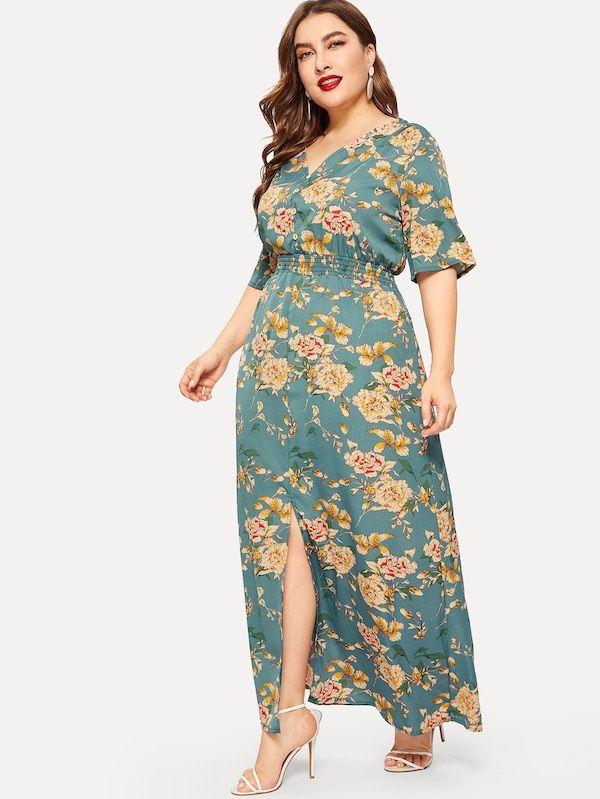 f2fdba685e Plus Floral Print Split Dress | SHEIN | Dresses in 2019 | Dresses ...