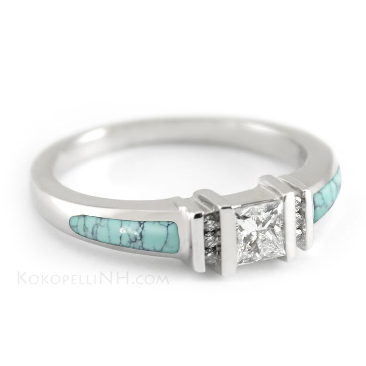 """Stormy Sky - Mirage"" Princess Cut Turquoise Engagement Ring - Engagement Rings - Kokopelli of NH"