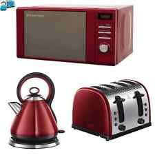 New red stainless steel russell hobbs microwave kettle for Kitchen set kettle toaster microwave