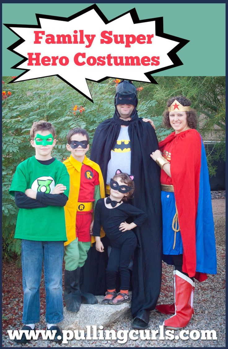 Superhero family costumes can be a fun and easy way to dress up together! Great for family members of all ages!